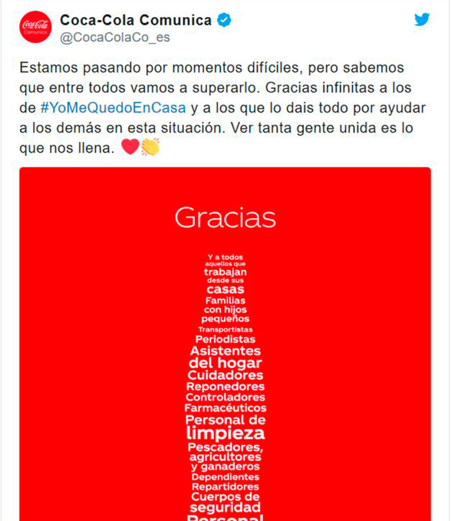 Coca cola campaña de coronavirus