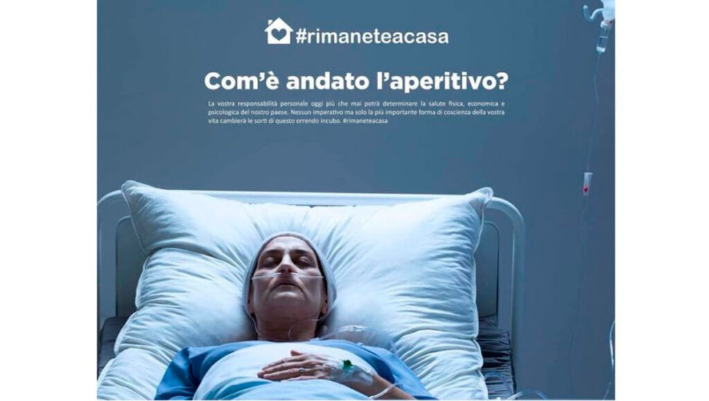 Publicidad gobierno italiano contra coronavirus